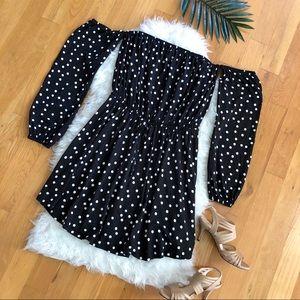 7d6d576c2b7 ASOS Dresses - ASOS Bardot Long Sleeve Skater Dress Polka Dot